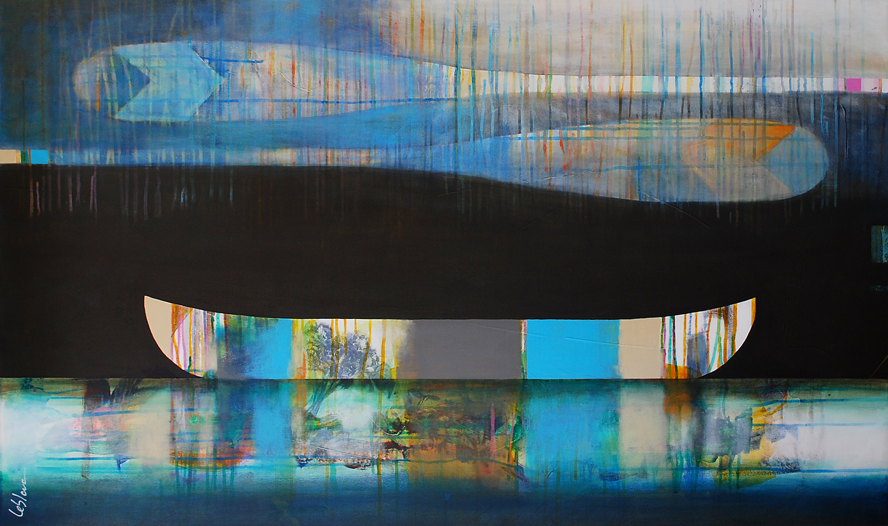 Les nuances des bleus, mixed media canoe painting by Sylvain Leblanc | Effusion Art Gallery + Glass Studio, Invermere BC