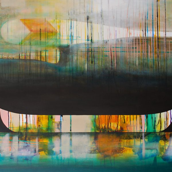 Les turquoises des horisons, mixed media canoe painting by Sylvain Leblanc | Effusion Art Gallery + Glass Studio, Invermere BC