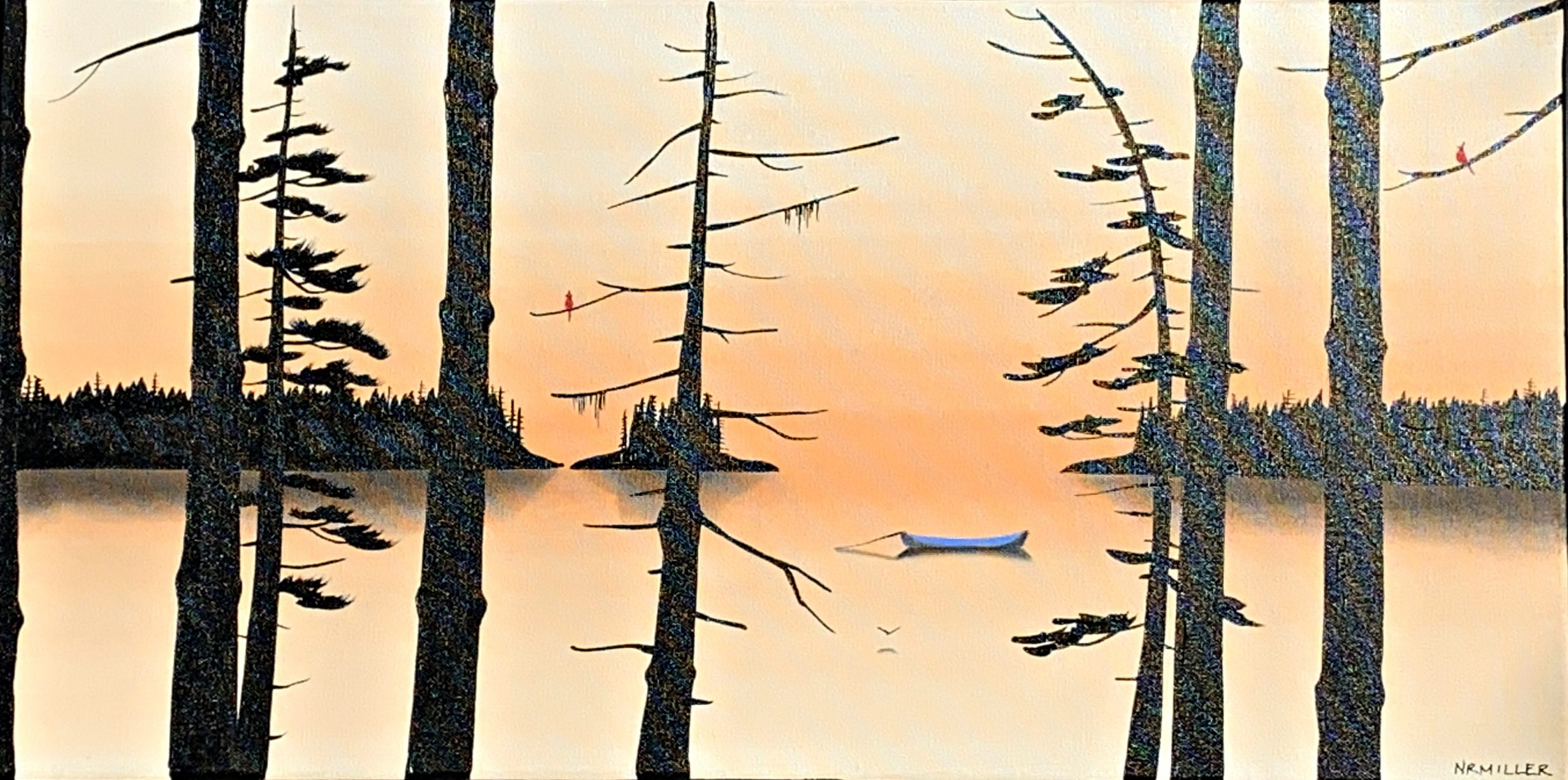 The Morning News, sunrise landscape painting by Natasha Miller | Effusion Art Gallery + Glass Studio, Invermere BC