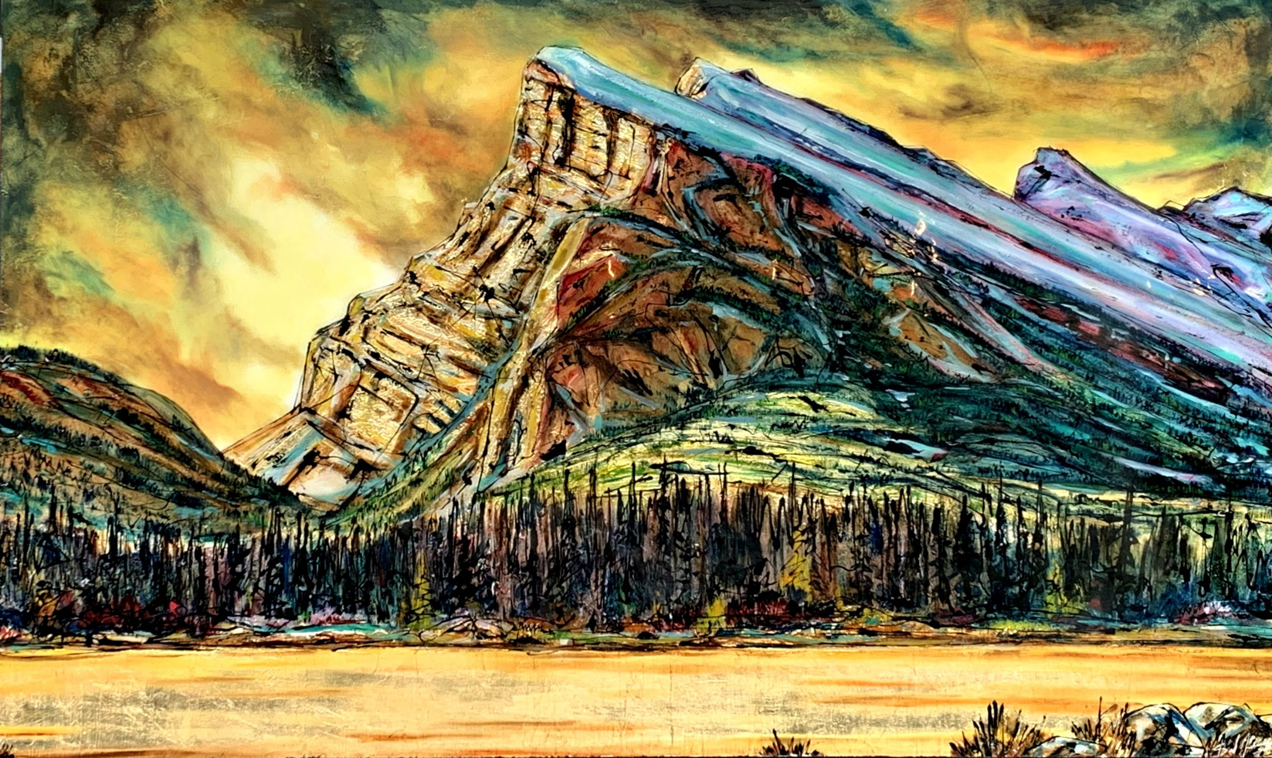 A Thin, Thin Line, mixed media landscape painting by David Zimmerman | Effusion Art Gallery + Glass Studio, Invermere BC