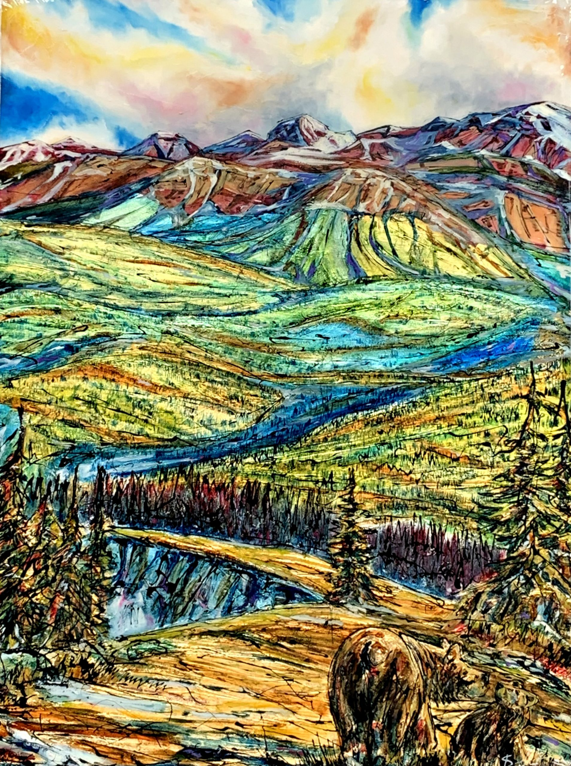Sights on Prairie, mixed media landscape + bear painting by David Zimmerman | Effusion Art Gallery + Glass Studio, Invermere BC