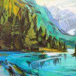 Emerald Day, acrylic landscape painting by Becky Holuk | Effusion Art Gallery + Glass Studio, Invermere BC