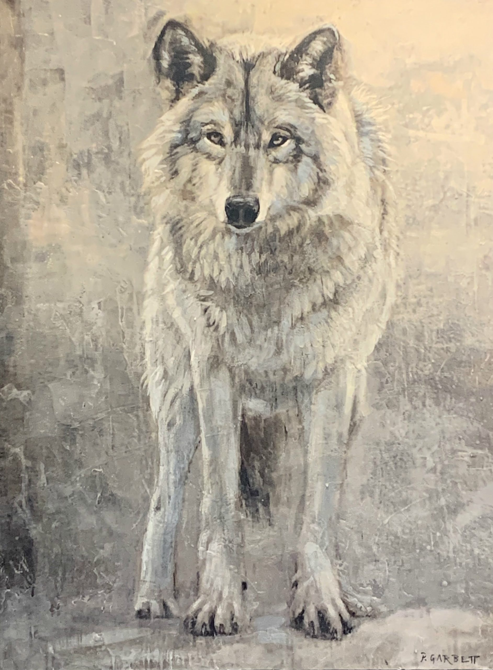 Lone Wolf 60-11, encaustic wolf painting by Paul Garbett | Effusion Art Gallery + Cast Glass Studio, Invermere BC