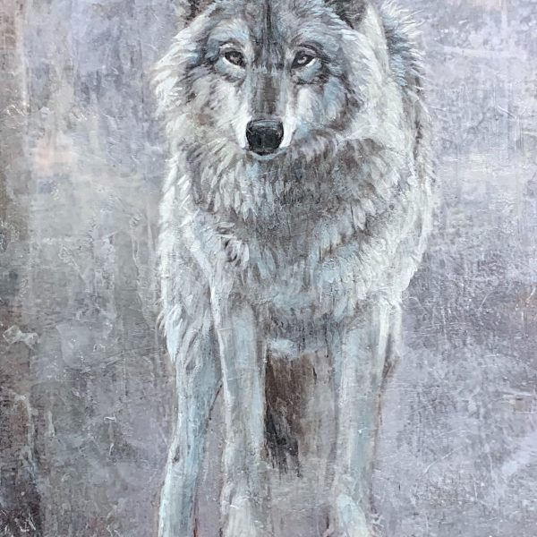 Lone Wolf, encaustic wolf painting by Paul Garbett   Effusion Art Gallery + Cast Glass Studio, Invermere BC
