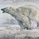 Running Polar Bear 63-03, encaustic bear cub painting by Paul Garbett | Effusion Art Gallery + Cast Glass Studio, Invermere BC