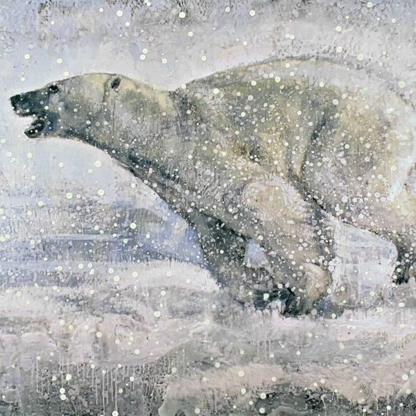Running Polar Bear 63-03, encaustic bear cub painting by Paul Garbett   Effusion Art Gallery + Cast Glass Studio, Invermere BC