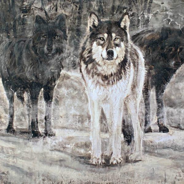 Three Wolves 63-02, encaustic bear cub painting by Paul Garbett   Effusion Art Gallery + Cast Glass Studio, Invermere BC