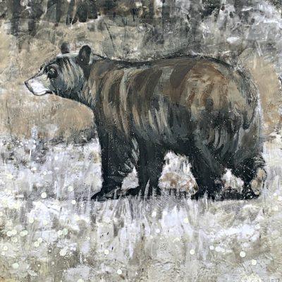 Walking Bear 61-03, encaustic bear painting by Paul Garbett   Effusion Art Gallery + Cast Glass Studio, Invermere BC