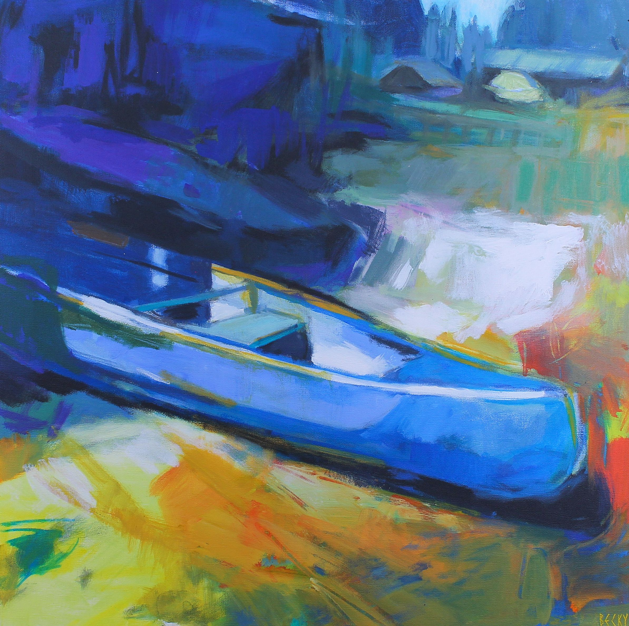 Can You Canoe 1, impressionist canoe painting by Becky Holuk | Effusion Art Gallery +  Glass Studio, Invermere BC