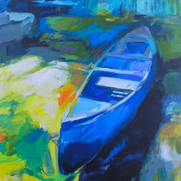 Can You Canoe 2, impressionist canoe painting by Becky Holuk   Effusion Art Gallery +  Glass Studio, Invermere BC