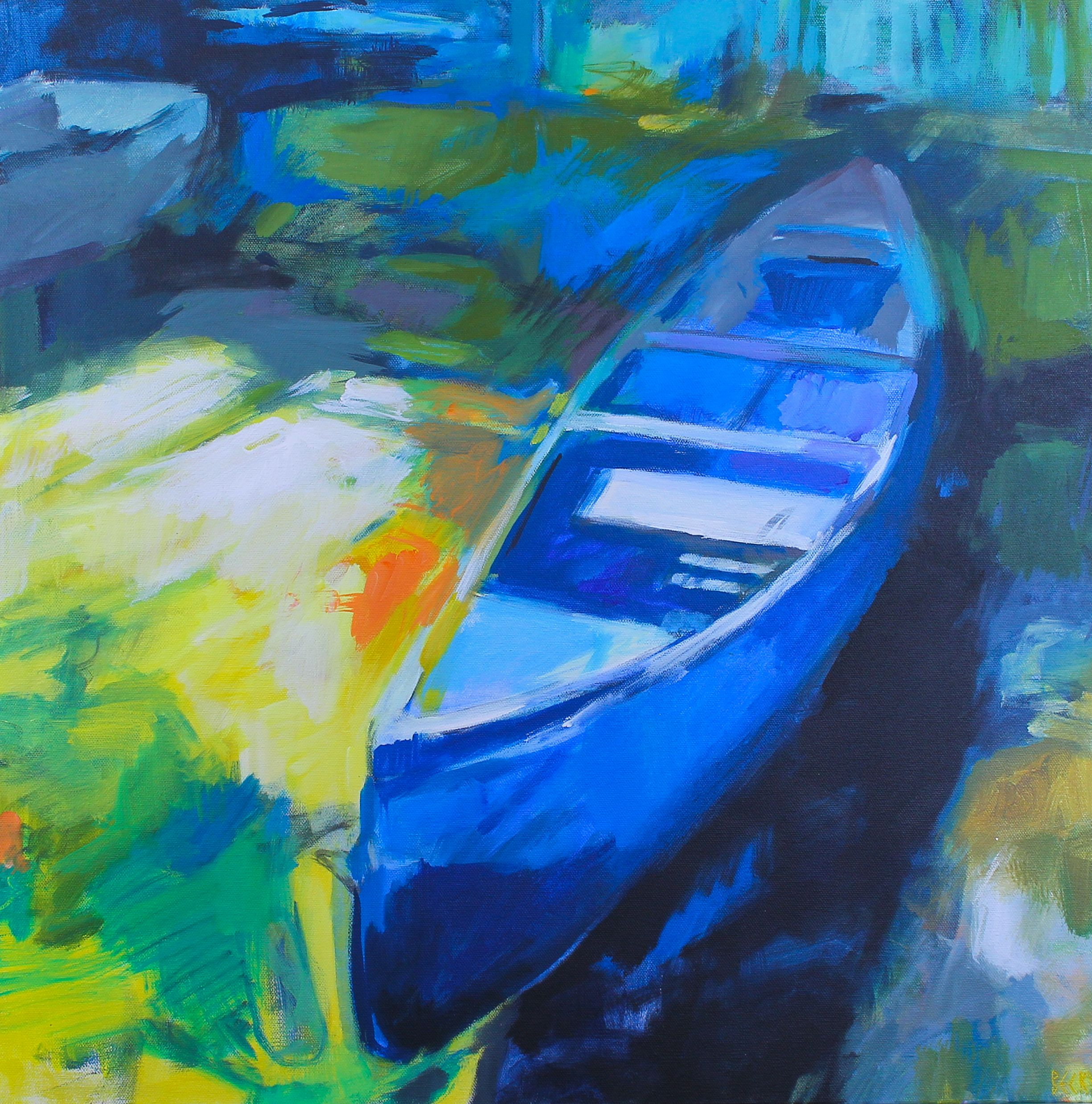 Can You Canoe 2, impressionist canoe painting by Becky Holuk | Effusion Art Gallery +  Glass Studio, Invermere BC