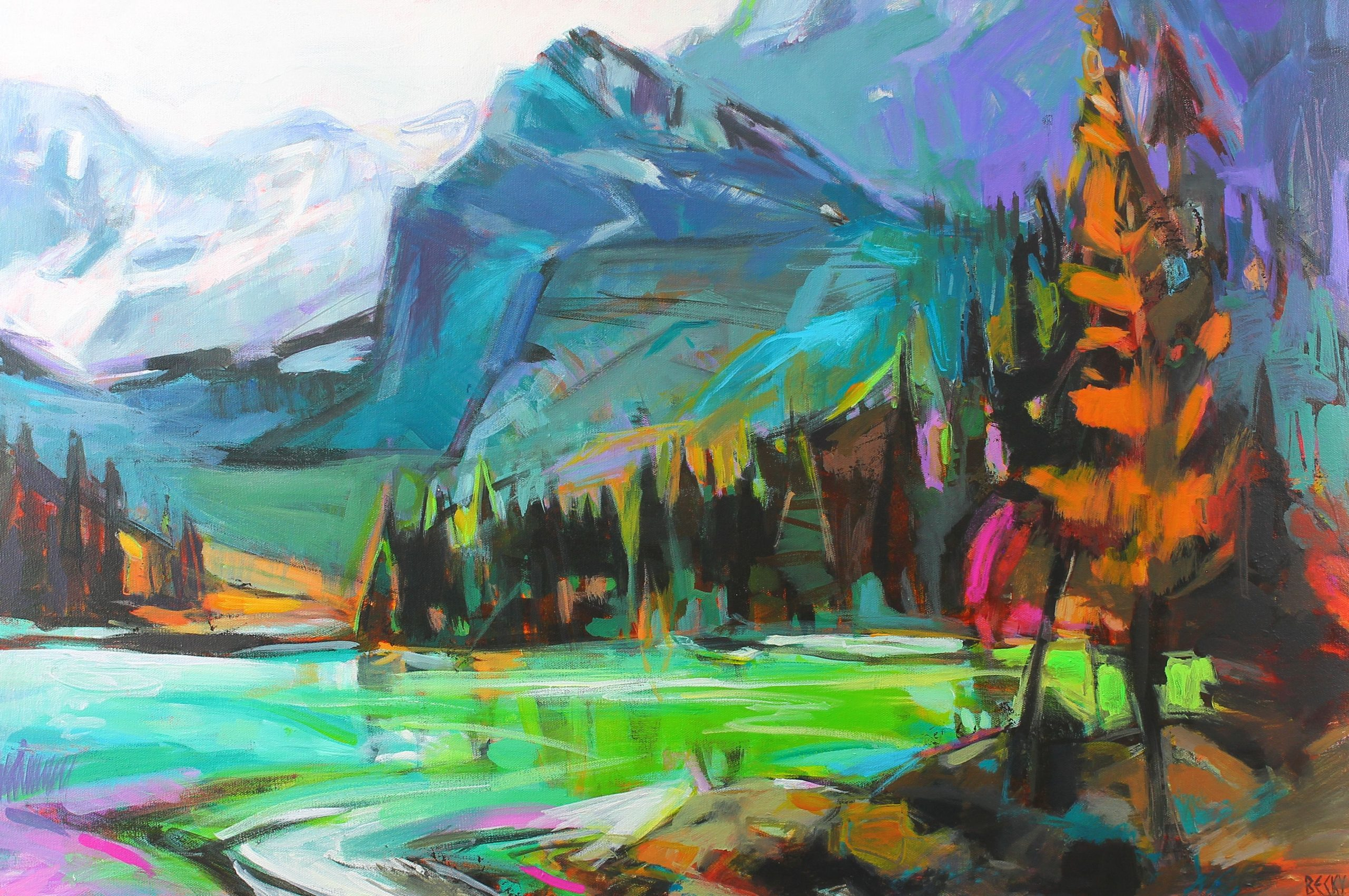 Mountain Colors, impressionist landscape painting by Becky Holuk | Effusion Art Gallery +  Glass Studio, Invermere BC