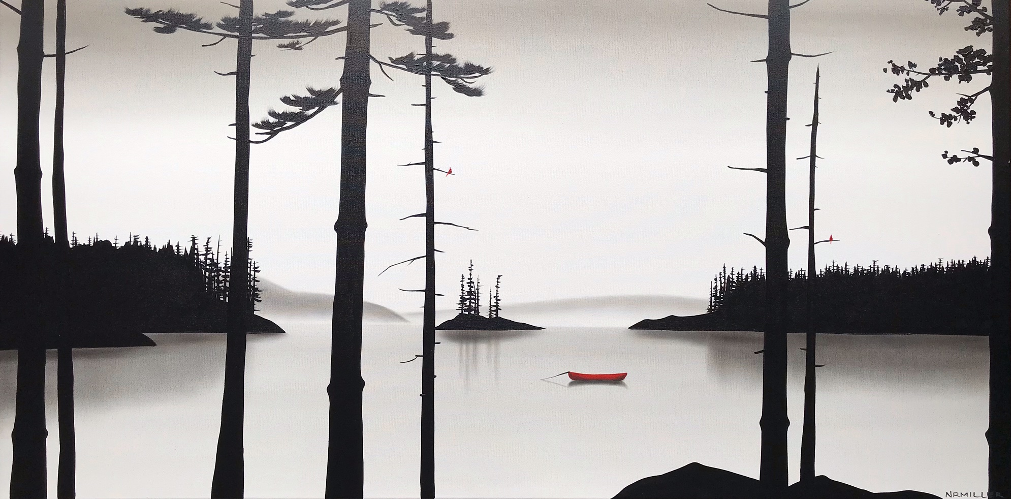 Never Have I Ever, mixed media landscape painting by Natasha Miller | Effusion Art Gallery + Glass Studio, Invermere BC