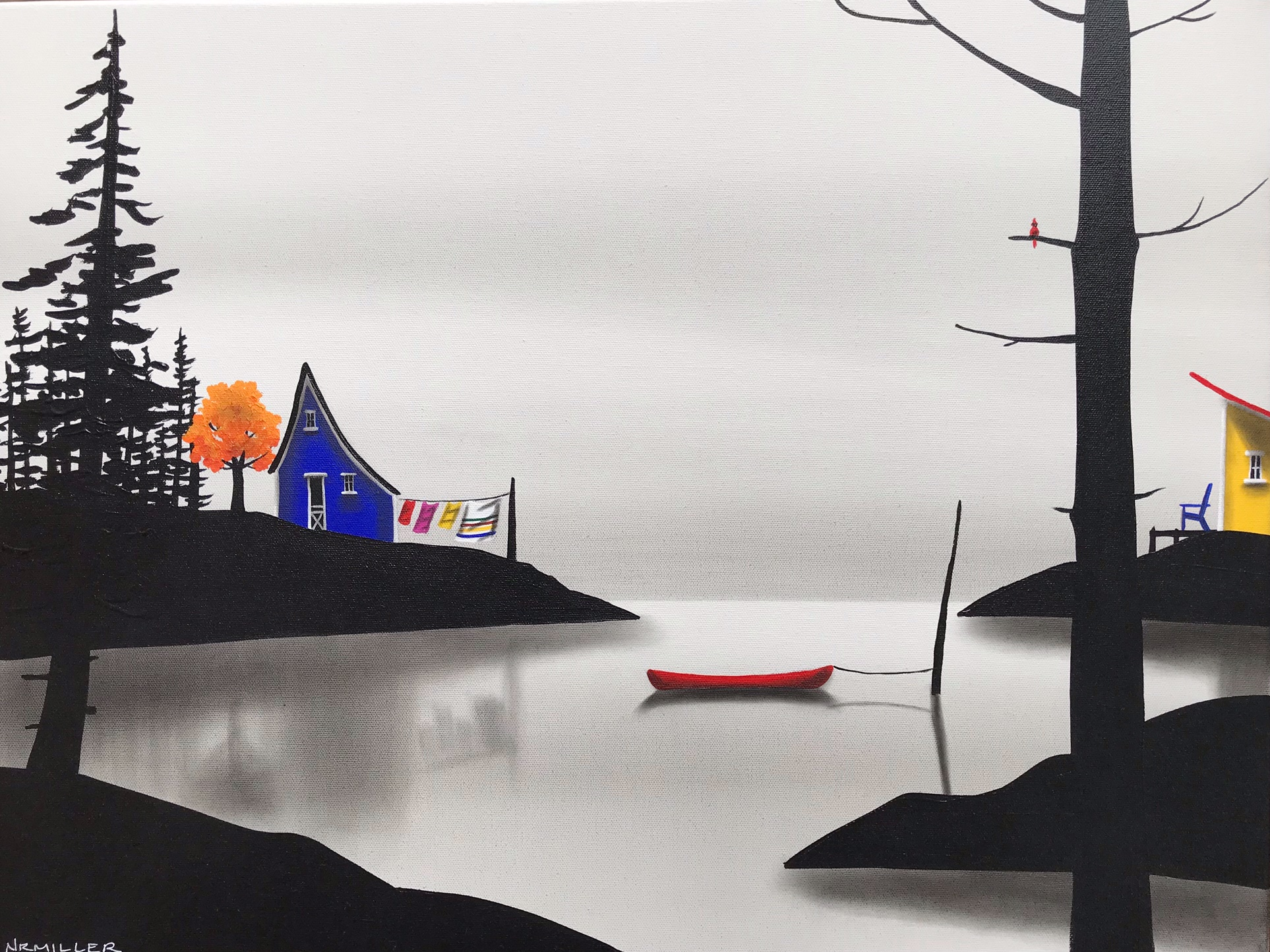 The Good Fight, mixed media landscape painting by Natasha Miller | Effusion Art Gallery + Glass Studio, Invermere BC