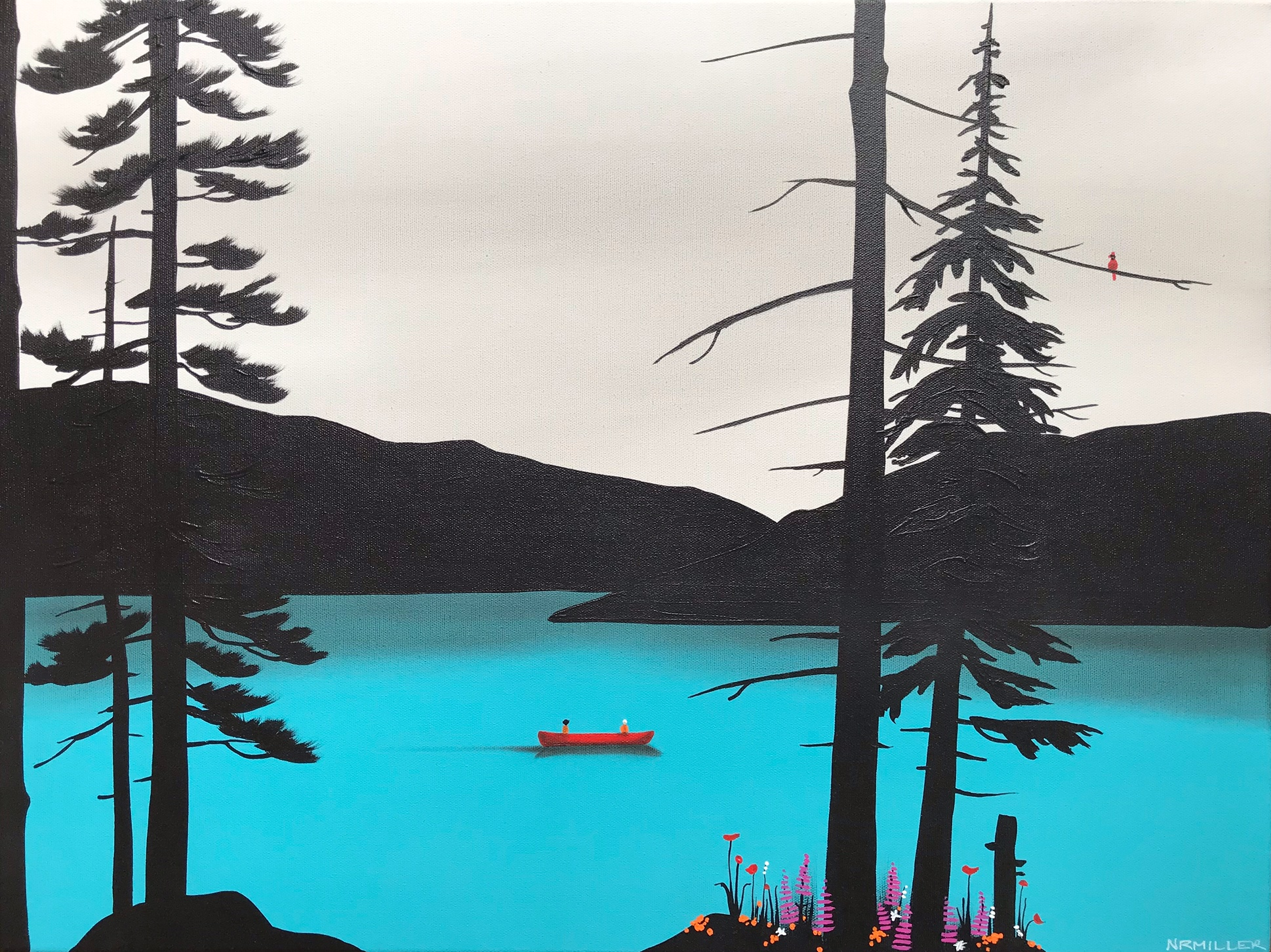 Wallowing Wildflower, mixed media landscape painting by Natasha Miller | Effusion Art Gallery + Glass Studio, Invermere BC