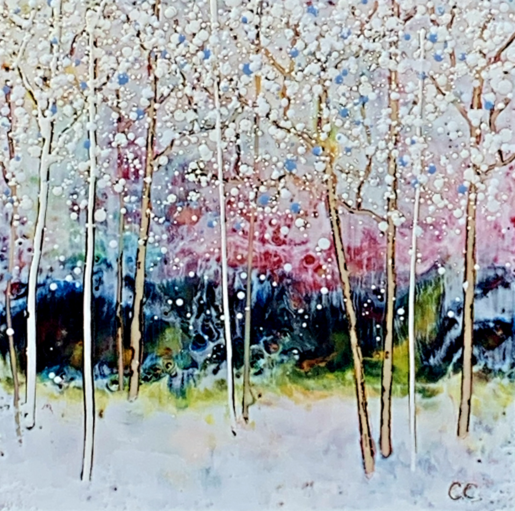 In this Together, encaustic painting by Catharine Clarke | Effusion Art Gallery + Cast Glass Studio, Invermere BC