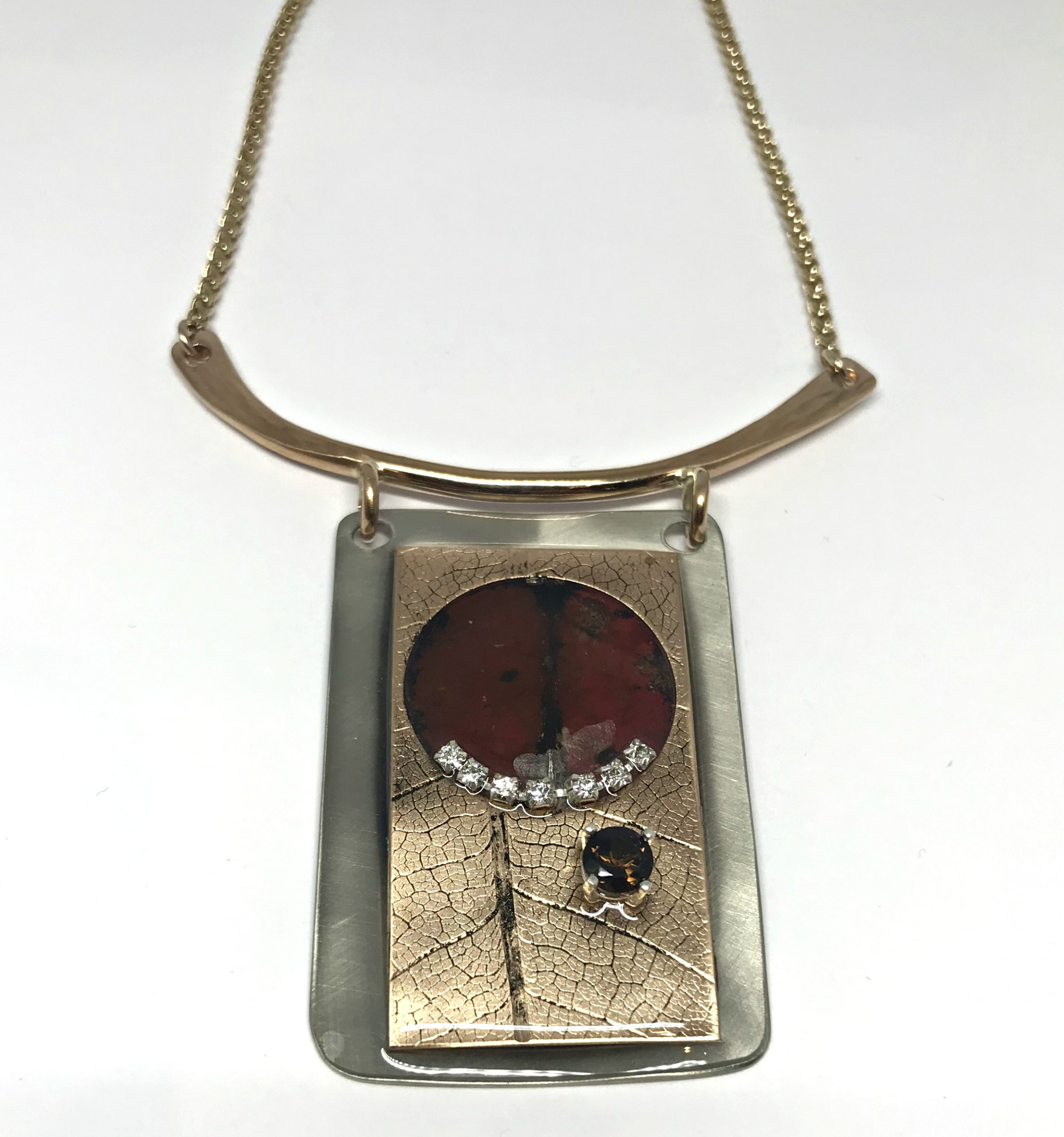 Fallen Leaf Necklace by Karyn Chopik | Effusion Art Gallery + Cast Glass Studio, Invermere BC