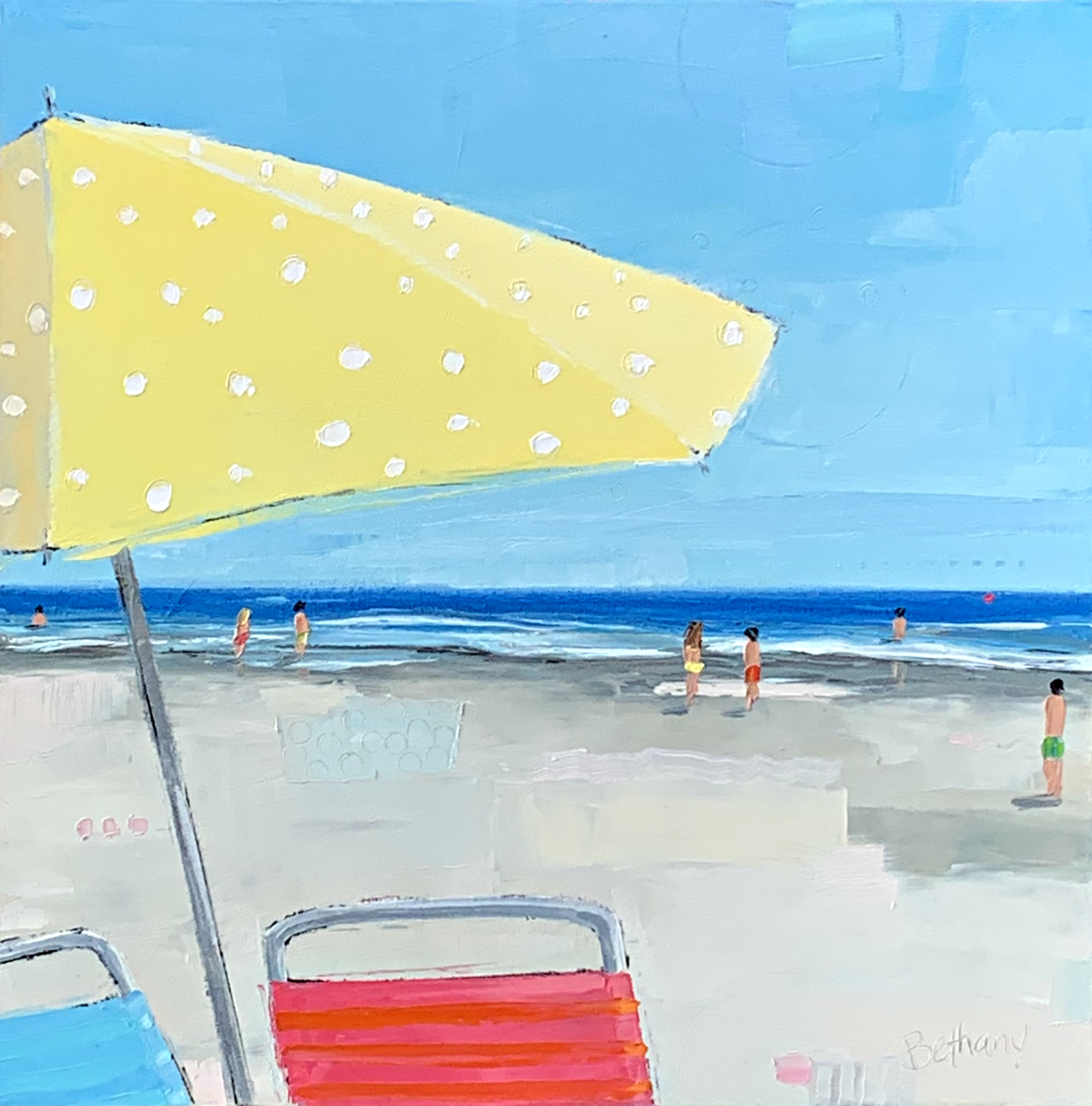 Yellow Polka Dot Umbrella, beach landscape painting by Bethany Harper Williams | Effusion Art Gallery + Glass Studio, Invermere BC