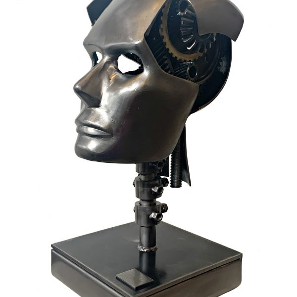 Imagine, steel head sculpture by Cory Fuhr | Effusion Art Gallery + Cast Glass Studio, Invermere BC