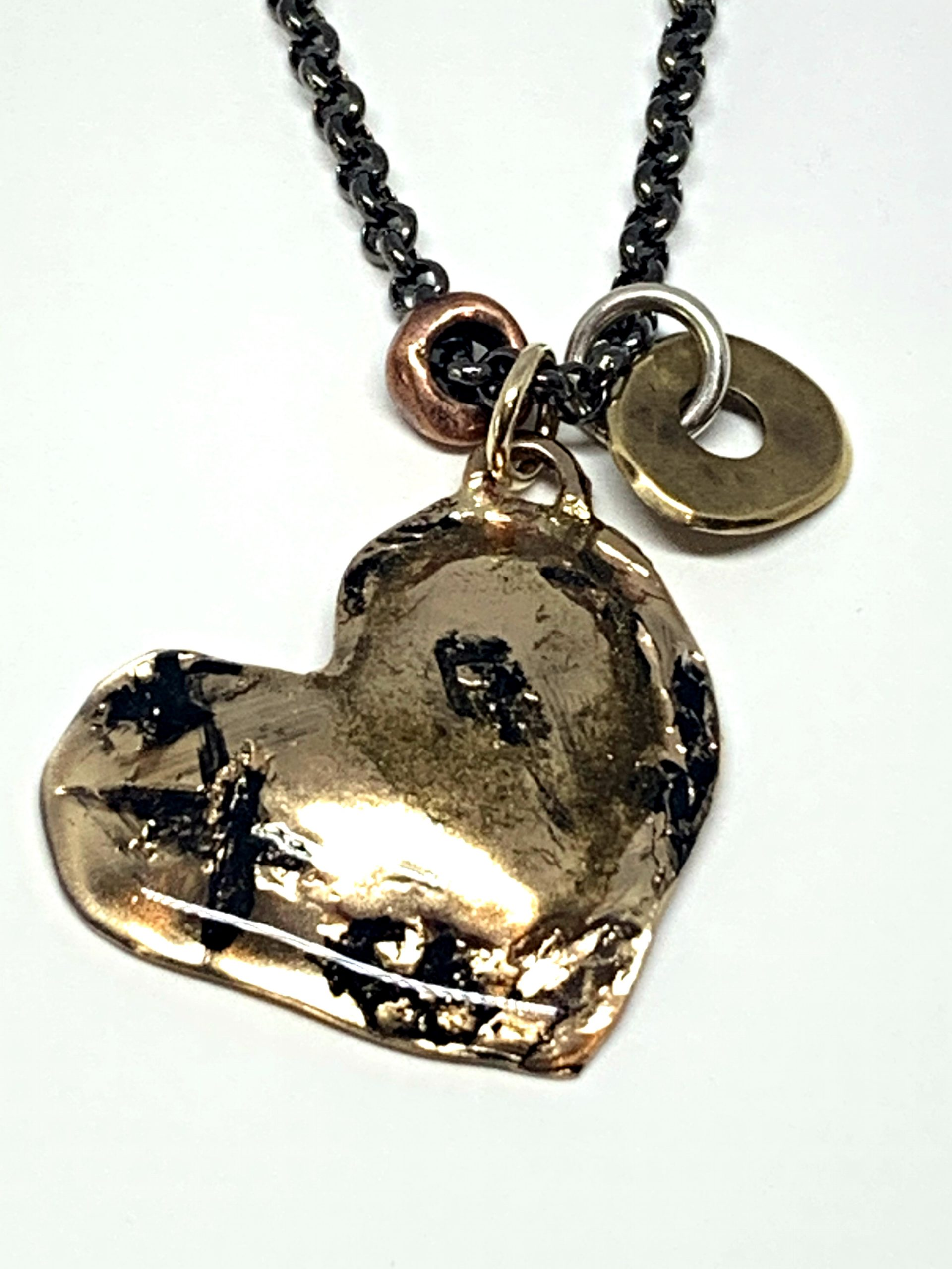 Modern Art Heart Necklace by Karyn Chopik | Effusion Art Gallery + Cast Glass Studio, Invermere BC