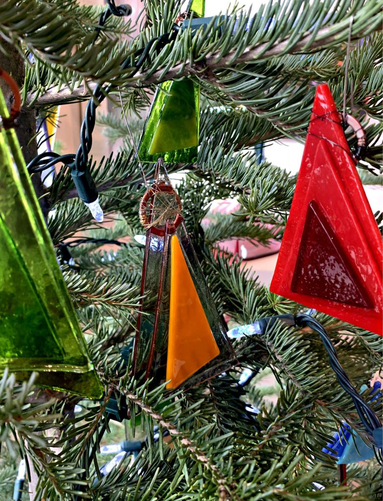 Cast glass Christmas tree ornaments by Heather Cuell | Effusion Art Gallery + Cast Glass Studio, Invermere BC