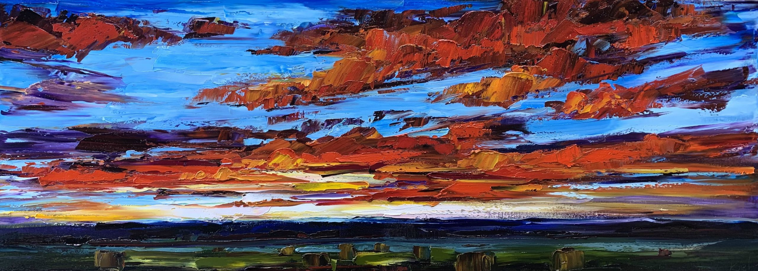 Chasing the Sun, landscape painting by Kimberly Kiel | Effusion Art Gallery + Cast Glass Studio, Invermere BC
