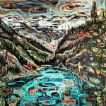 Lake Louise, acrylic landscape painting by Sandy Kunze | Effusion Art Gallery + Cast Glass Studio, Invermere BC
