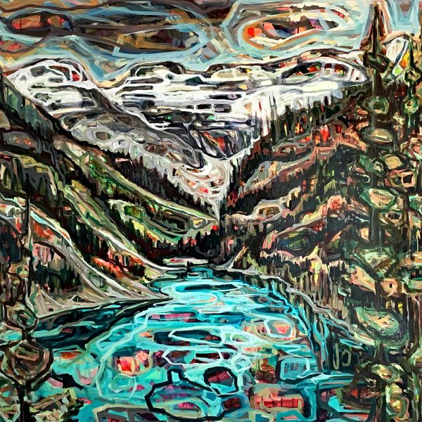 Lake Louise, acrylic landscape painting by Sandy Kunze   Effusion Art Gallery + Cast Glass Studio, Invermere BC