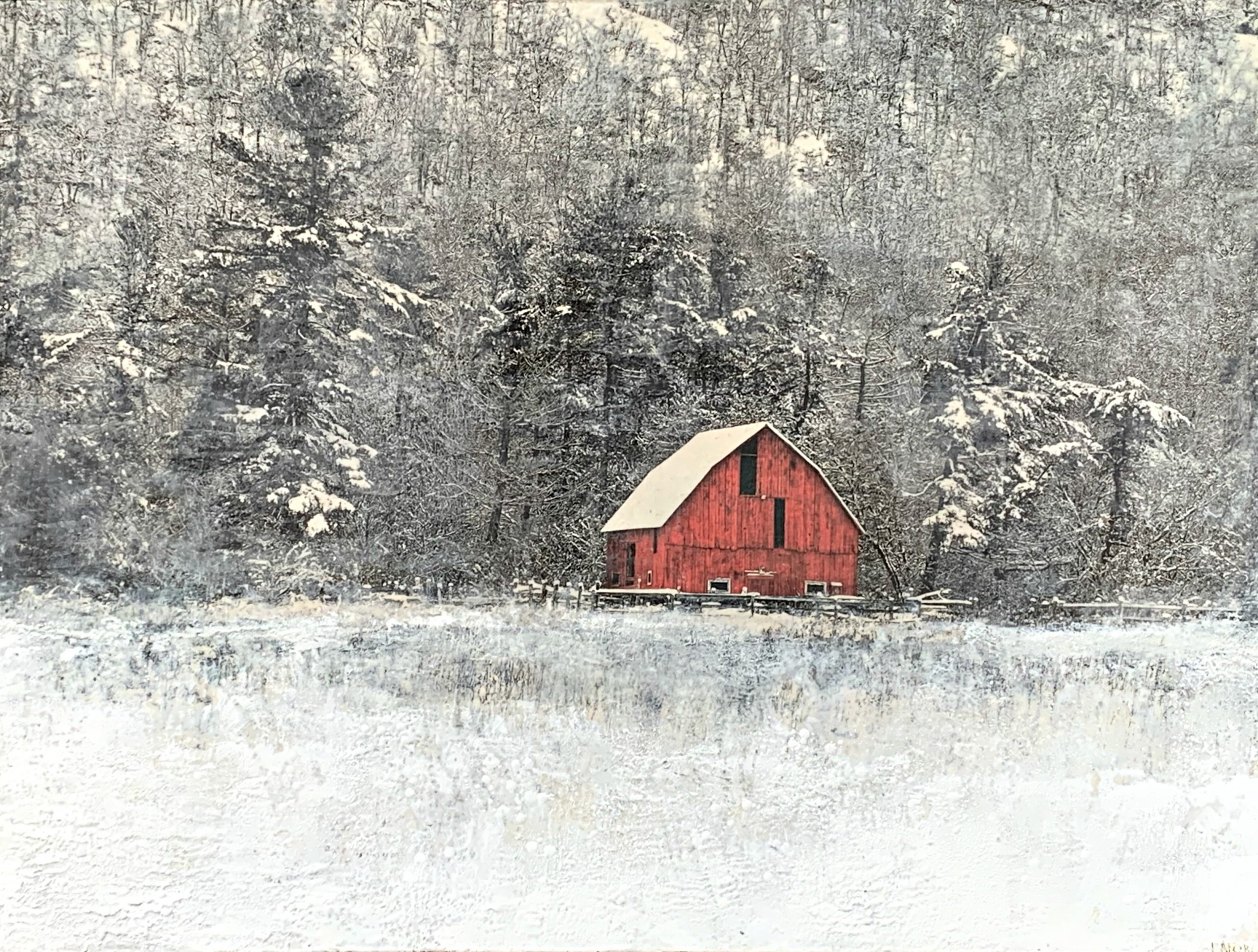 A Sheltered Place, encaustic barn painting by Lee Anne LaForge | Effusion Art Gallery + Cast Glass Studio, Invermere BC