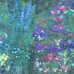 The Wildflower Garden, encaustic abstract flower painting by Lee Anne LaForge | Effusion Art Gallery + Cast Glass Studio, Invermere BC