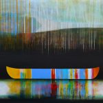 À l'aube des silences, mixed media canoe painting by Sylvain Leblanc | Effusion Art Gallery + Cast Glass Studio, Invermere BC
