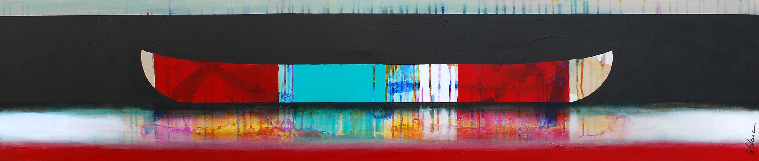 Avec tout dignité, mixed media canoe painting by Sylvain Leblanc | Effusion Art Gallery + Cast Glass Studio, Invermere BC