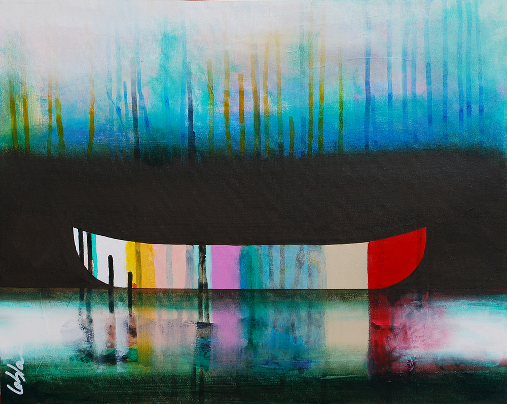 Belle Solitude, mixed media canoe painting by Sylvain Leblanc | Effusion Art Gallery + Cast Glass Studio, Invermere BC
