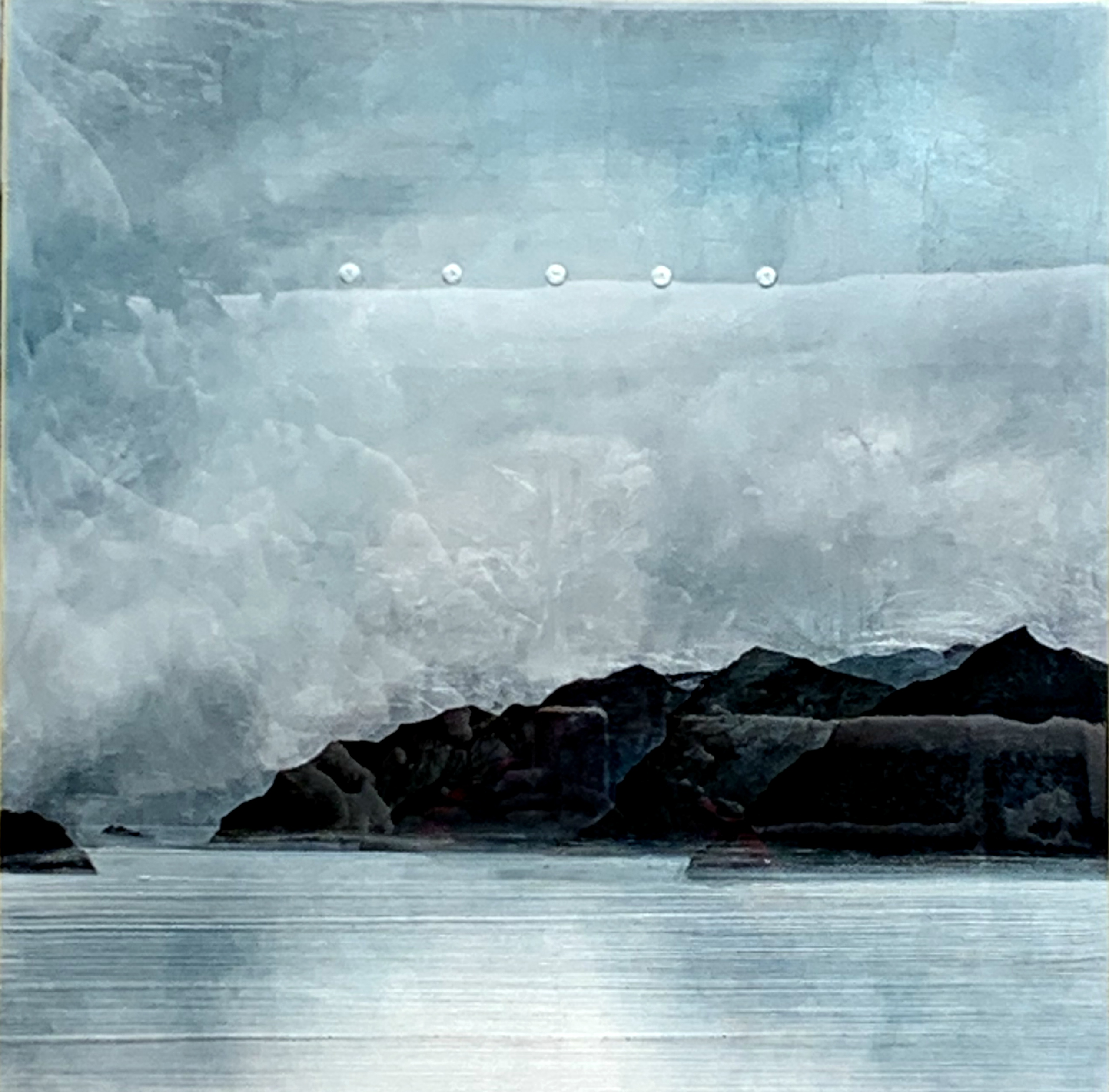 Coming up the Sound, mixed media landscape painting by David Graff | Effusion Art Gallery + Cast Glass Studio, Invermere BC