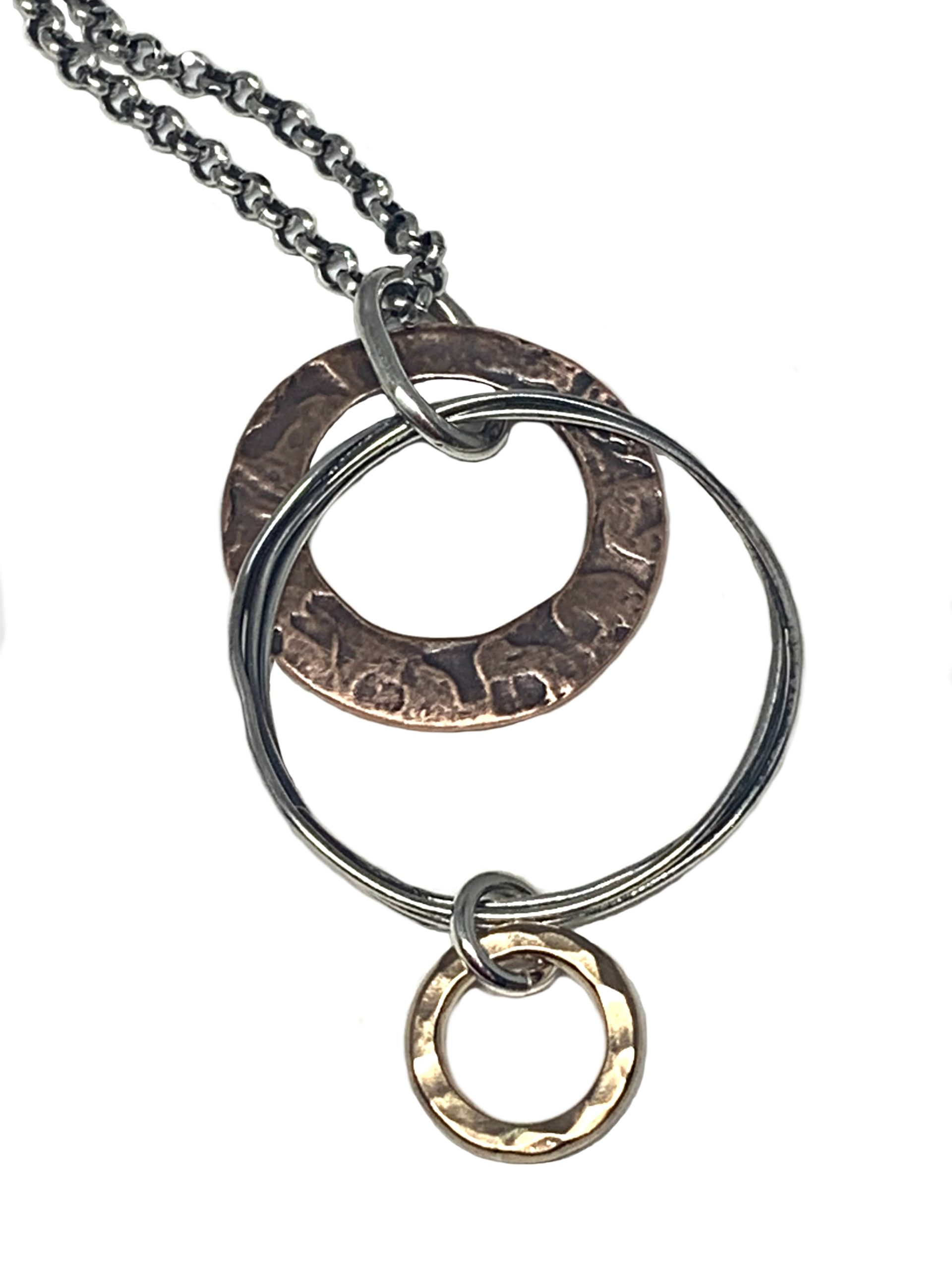 Sterling silver, bronze, and copper necklace by Karyn Chopik | Effusion Art Gallery + Cast Glass Studio, Invermere BC