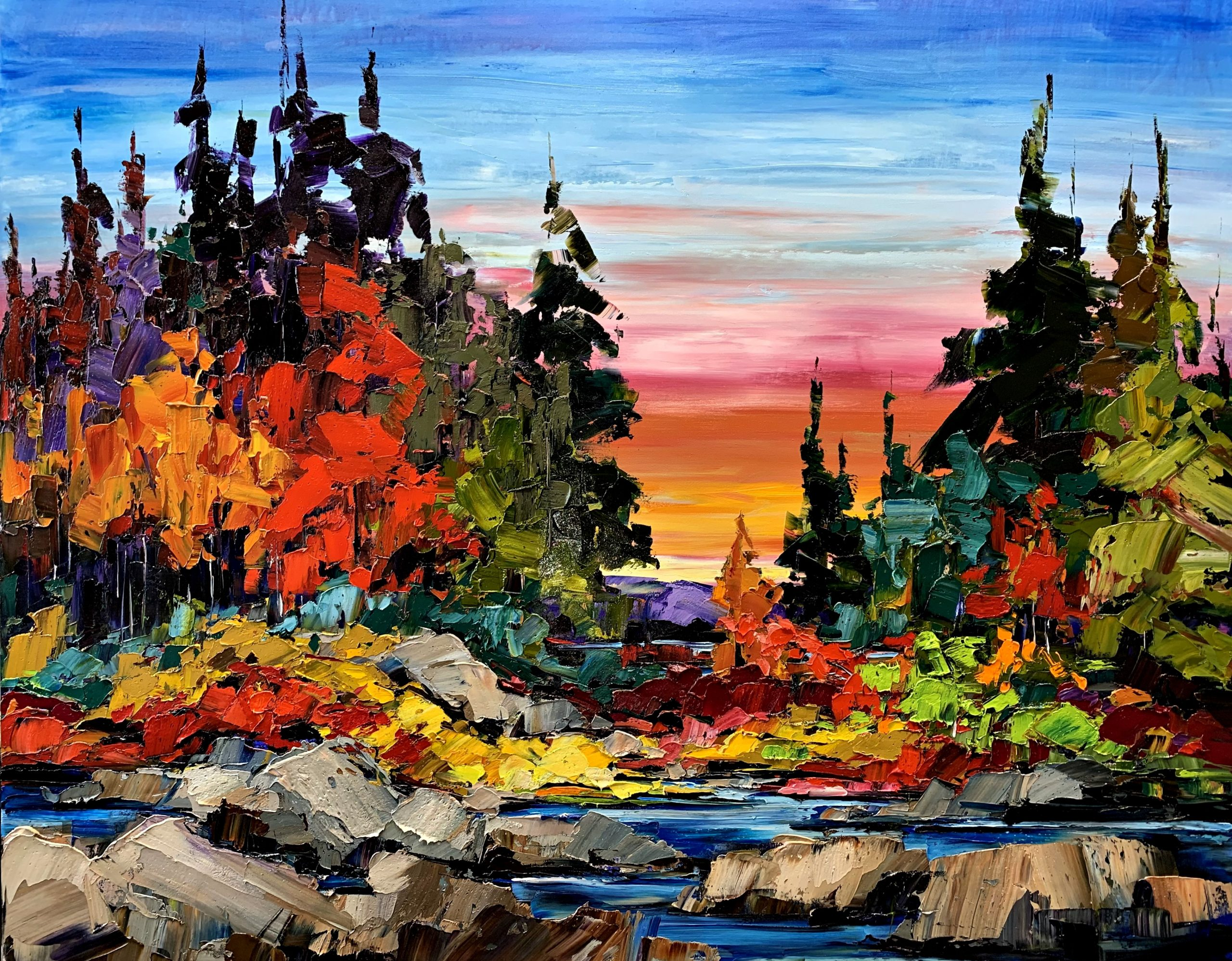 Chasing Shadows, landscape painting by Kimberly Kiel | Effusion Art Gallery + Cast Glass Studio, Invermere BC