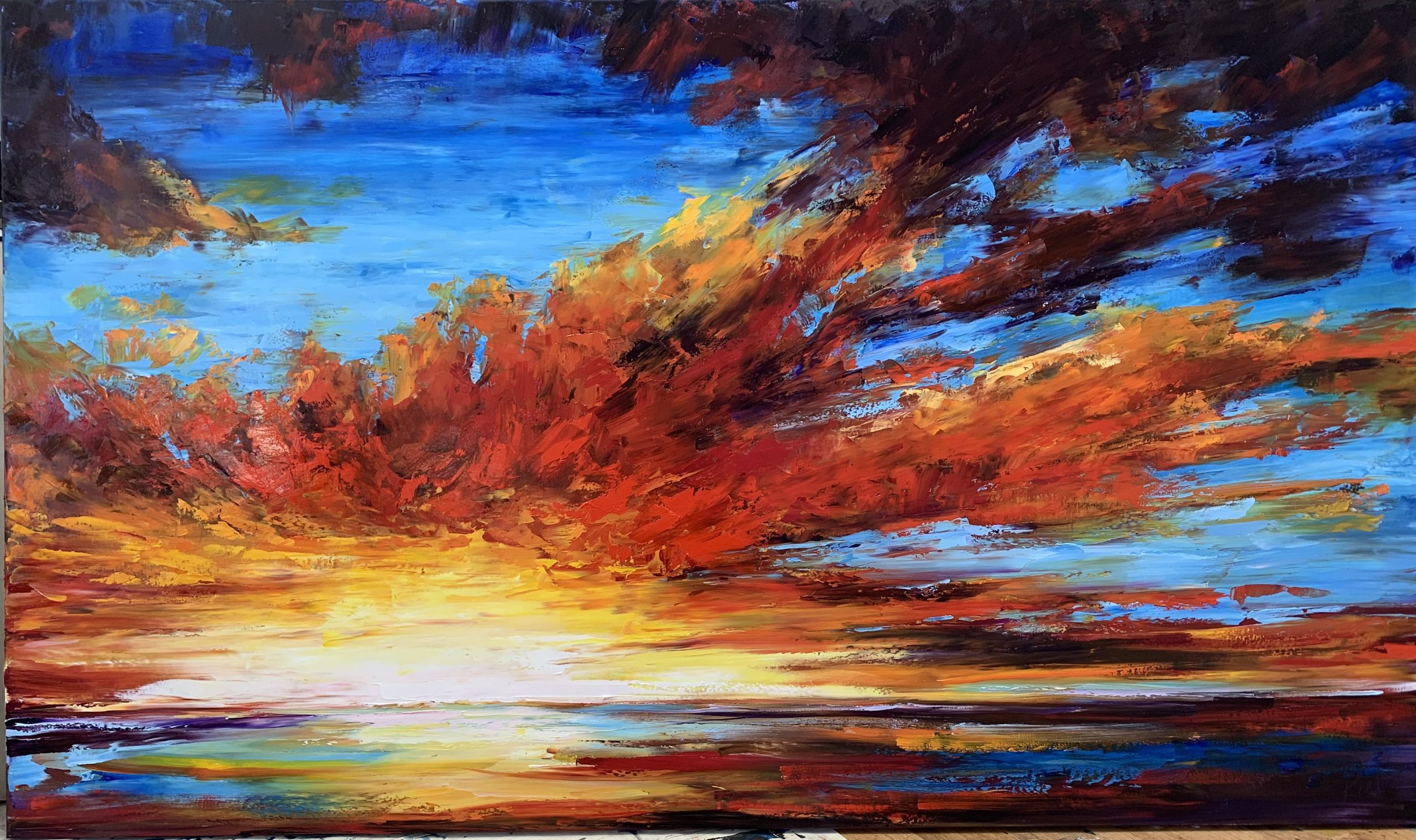 Nothing is Still, sunset painting by Kimberly Kiel | Effusion Art Gallery + Cast Glass Studio, Invermere BC
