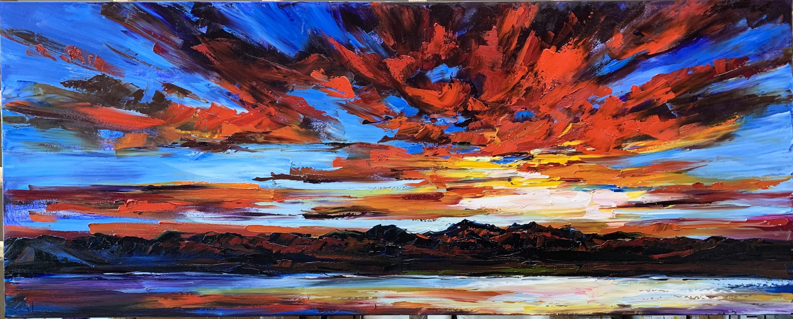 Once in a Blue Moon, sunset painting by Kimberly Kiel | Effusion Art Gallery + Cast Glass Studio, Invermere BC
