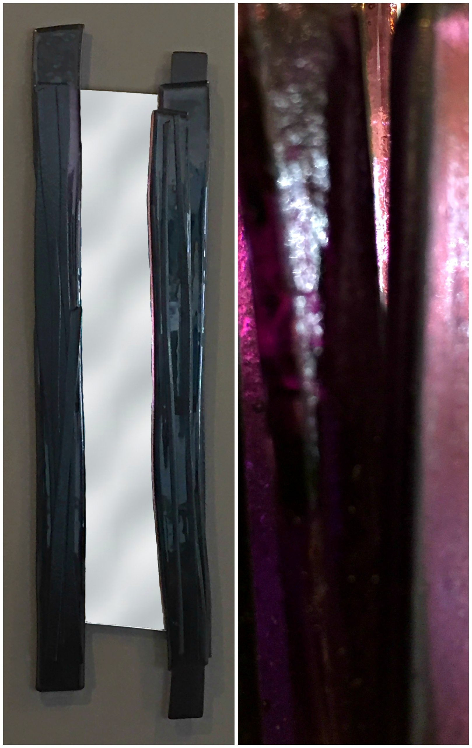 Reflections 5, purple cast glass mirror by Heather Cuell | Effusion Art Gallery + Cast Glass Studio, Invermere BC