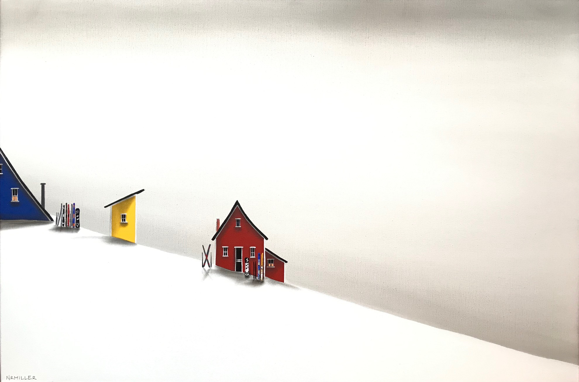 Snowy Days, mixed media landscape painting by Natasha Miller | Effusion Art Gallery + Cast Glass Studio, Invermere BC