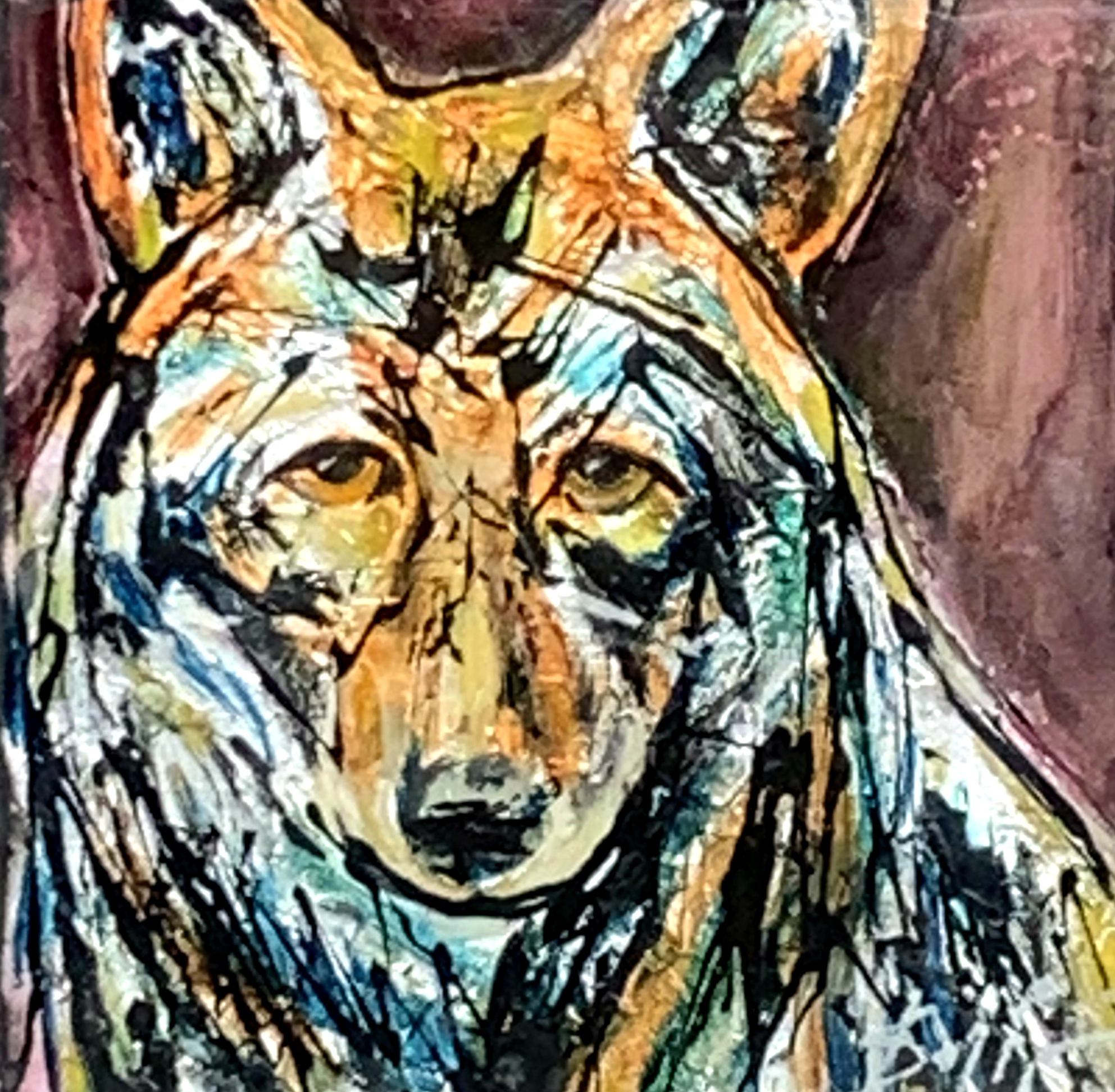 Canada 31, mixed media coyote painting by David Zimmerman | Effusion Art Gallery + Cast Glass Studio, Invermere BC