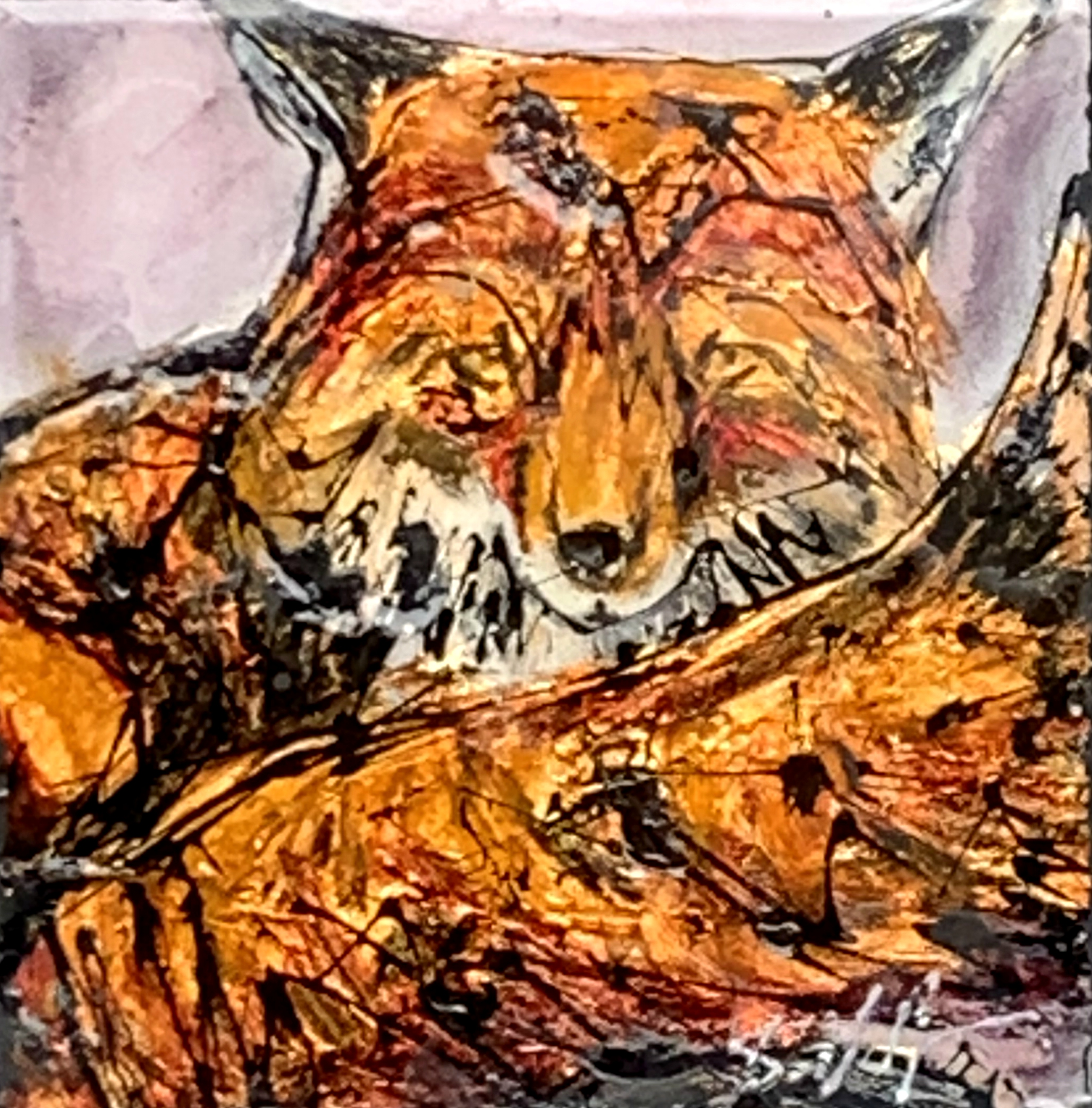 Canada 32, mixed media fox painting by David Zimmerman | Effusion Art Gallery + Cast Glass Studio, Invermere BC