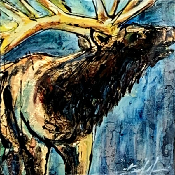 Canada 37, mixed media elk painting by David Zimmerman | Effusion Art Gallery + Cast Glass Studio, Invermere BC