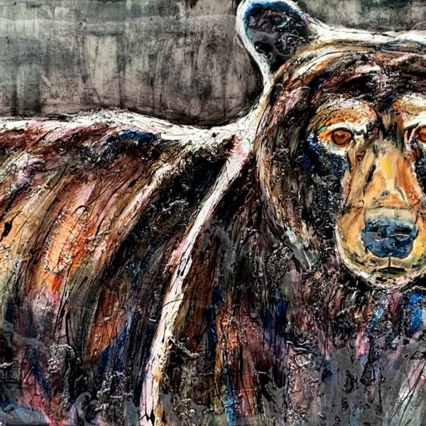 Looking to the Future, mixed media brown bear painting by David Zimmerman   Effusion Art Gallery + Cast Glass Studio, Invermere BC