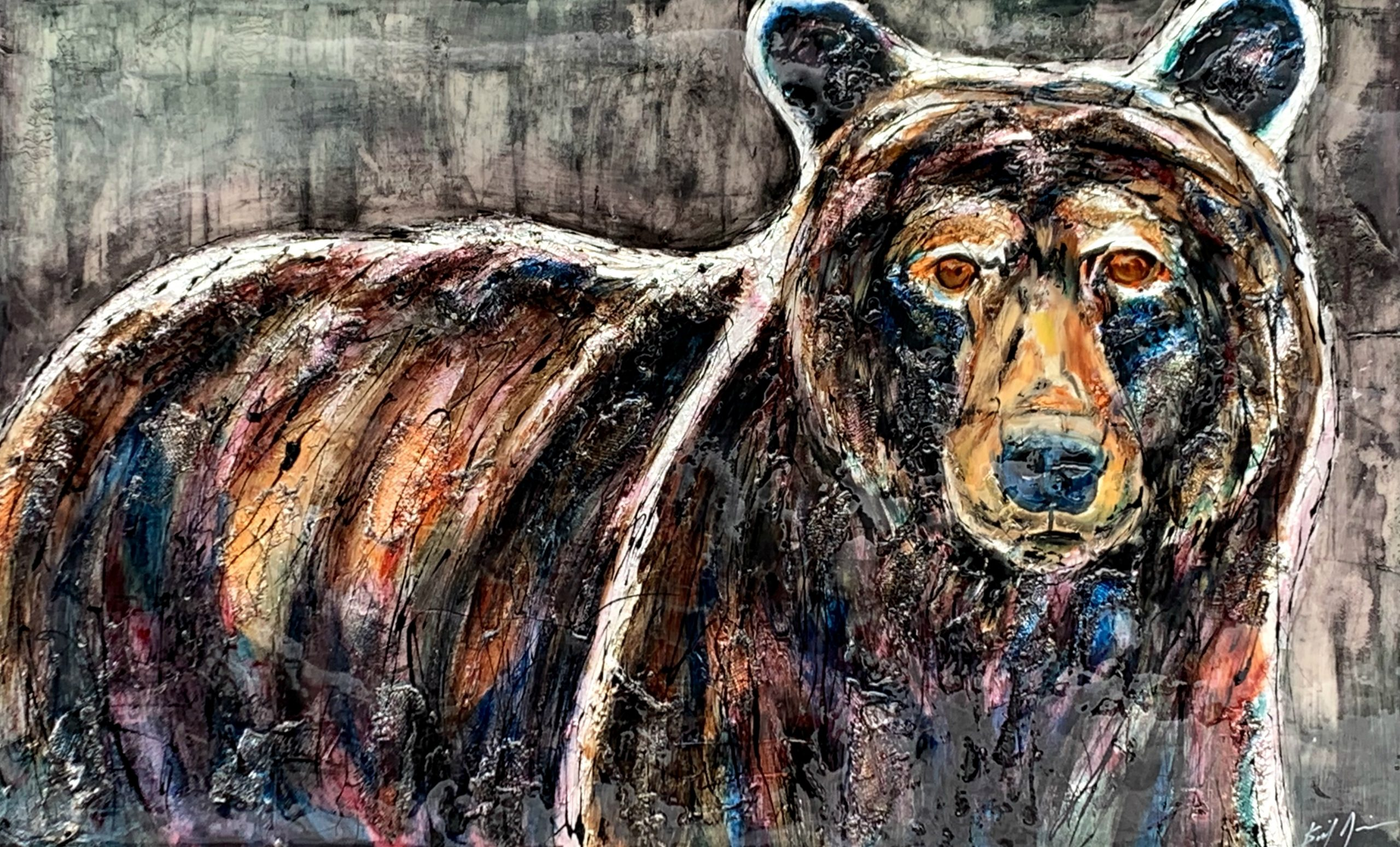 Looking to the Future, mixed media brown bear painting by David Zimmerman | Effusion Art Gallery + Cast Glass Studio, Invermere BC