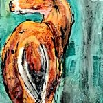 The Look, mixed media deer painting by David Zimmerman   Effusion Art Gallery + Cast Glass Studio, Invermere BC