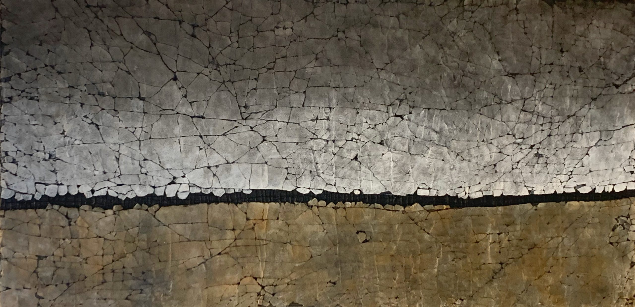 Yellow Ochre and Carbon Black, mixed media painting by Karen Bagayawa | Effusion Art Gallery + Cast Glass Studio, Invermere BC