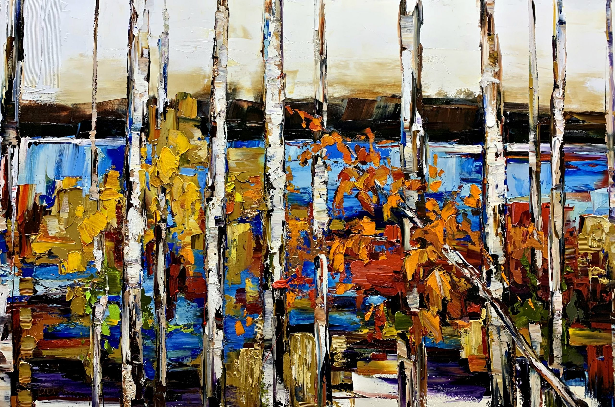 All These Miles from Home, mixed media landscape painting by Kimberly Kiel | Effusion Art Gallery + Cast Glass Studio, Invermere BC
