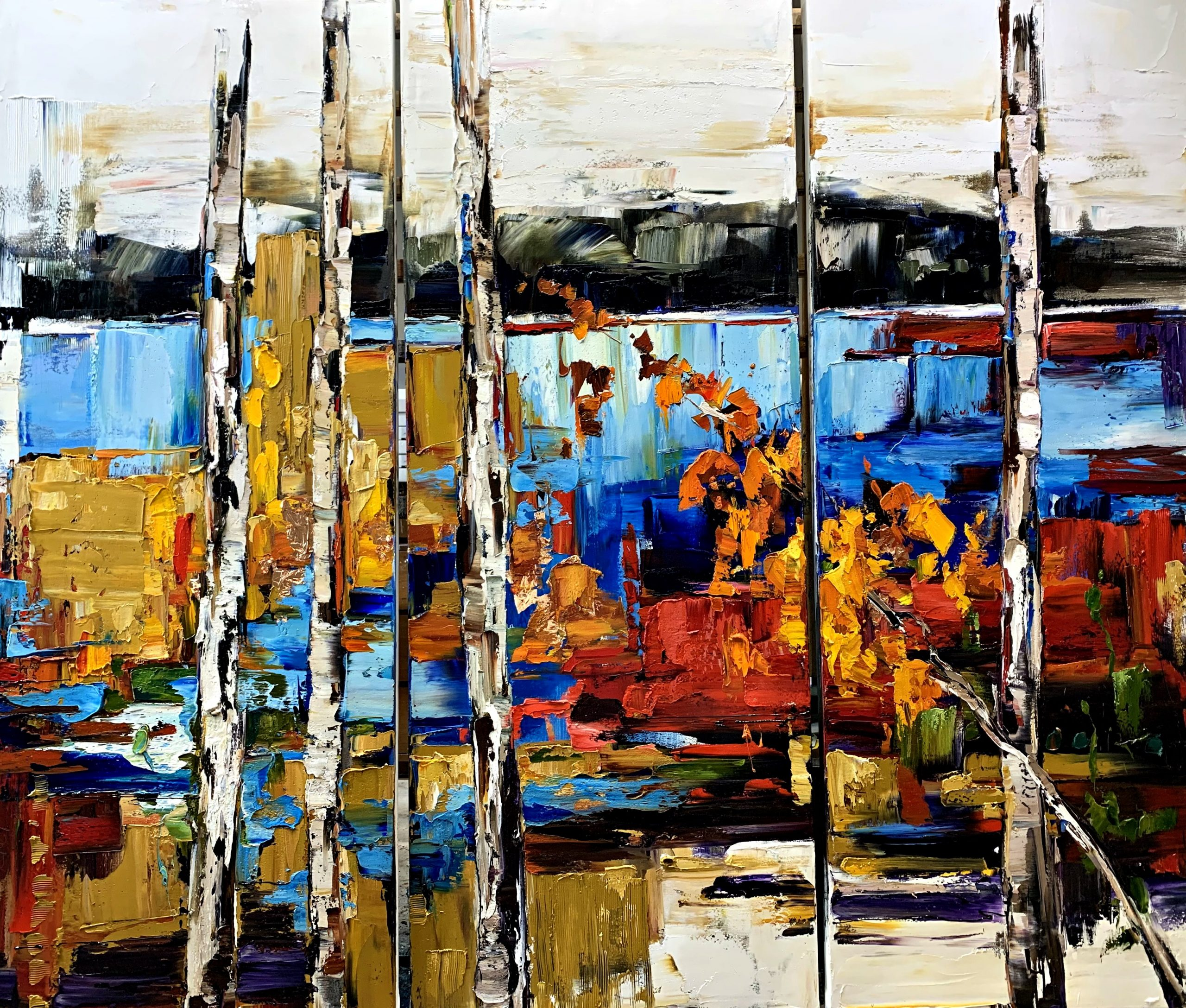 That Could Change Too, mixed media landscape painting by Kimberly Kiel | Effusion Art Gallery +  Cast Glass Studio, Invermere BC