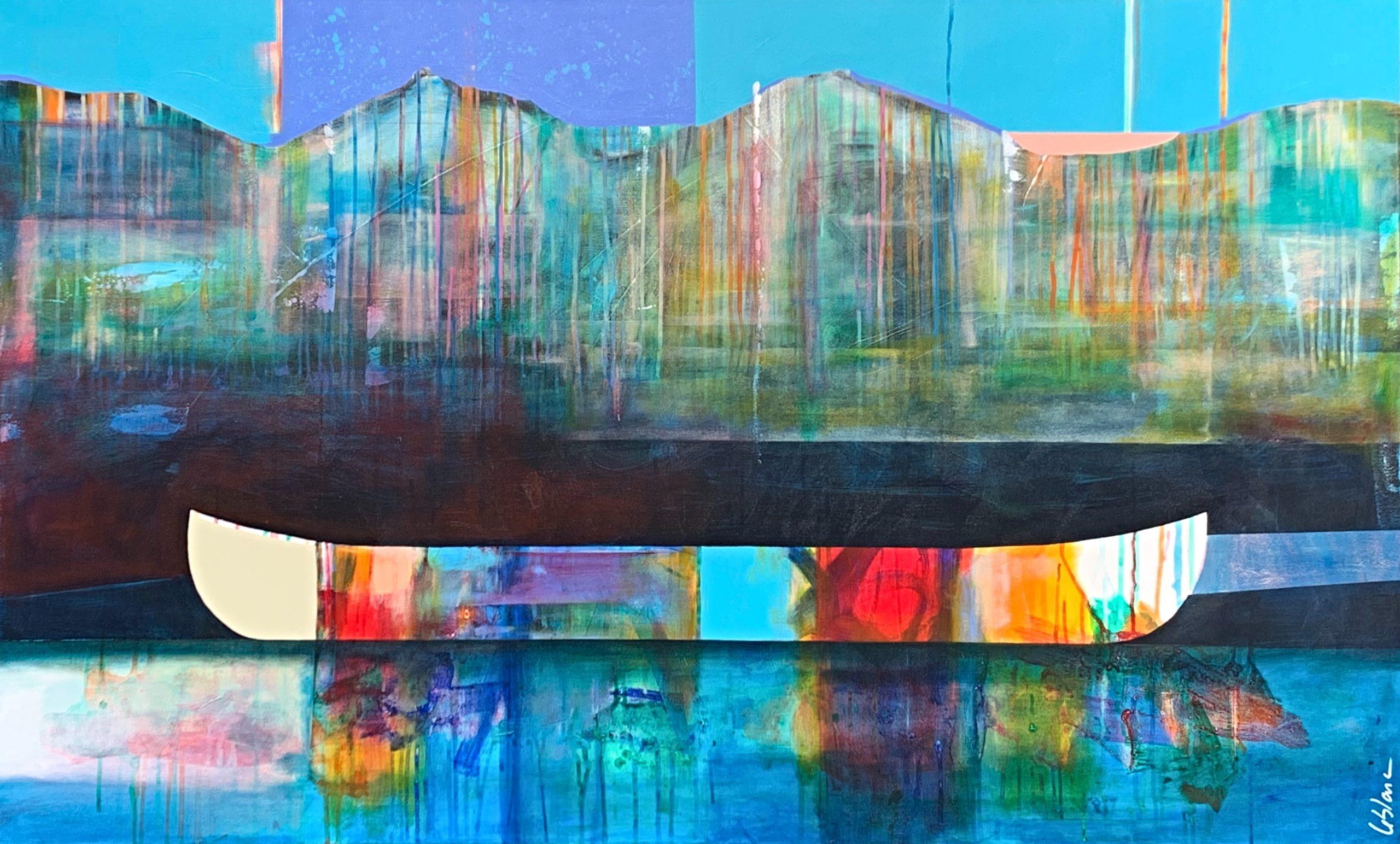 Comme un spectacle de couleurs, mixed media canoe painting by Sylvain Leblanc | Effusion Art Gallery + Cast Glass Studio, Invermere BC